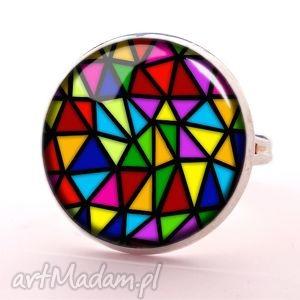 trójkąty - pierścionek regulowany nowoczesny, prezent
