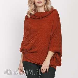 luźny sweter, swe205 rudy mkm, luźny, golf, jesień, dopracy, doszkoły
