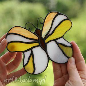 handmade witraże motyl - cytrynek