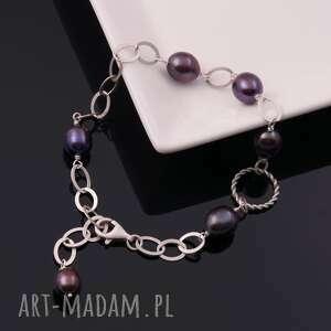 srebrna bransoletka z ciemnymi perłami - niebieskie, perły, oryginalna
