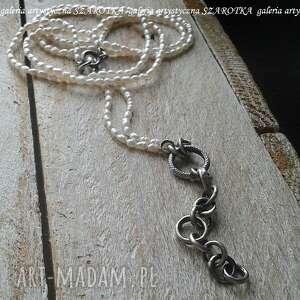 naszyjniki klasyka inaczej naszyjnik z naturalnych pereł i srebra, perła