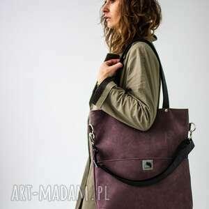 bags philosophy torba z wodoodpornego nubuku w kolorze śliwkowym, shopper