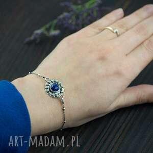 srebrna bransoletka z lapis lazuli i różami, bransoletka