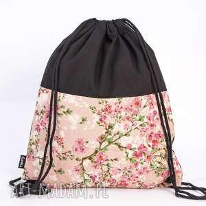 Kwiatowy róż, worek, plecak, torba, kwiaty