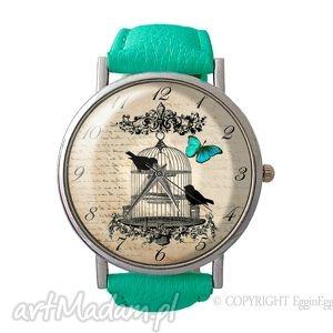 ręcznie wykonane zegarki ptaki w klatce - skórzany zegarek z dużą tarczką