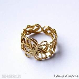 obrączka ażurowa pozłocona, biżuteria, srebro, pierścionki