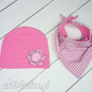 handmade czapki cienki komplet dla dziewczynki, czapka, komin
