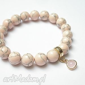 mosaic rose, howlit, kamienie, szkło, pastelowa bransoletki biżuteria