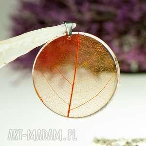 naszyjnik z prawdziwym liściem zatopionym w żywicy z1547, biżuteria