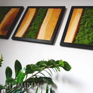 woodcraft obraz tryptyk z drewna dębowego i mech w ramie stalowej loft