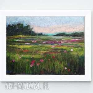 paulina lebida letnia łąka-praca wykonana pastelami formatu a4, łąka, pastele