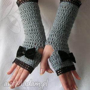 rękawiczki - mitenki szare z czarną kokardą - rękawiczki, mitenki