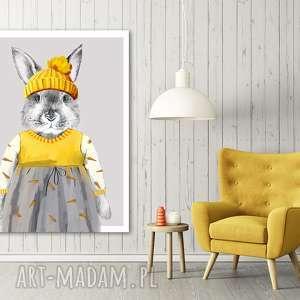 obraz drukowany na płótnie zajęczek w sukience format 60x80cm, dla dziecka
