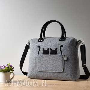 Duża szara torebka kufer z filcu dwoma kotami, kot, filc, filcowa, kotek, elegancka