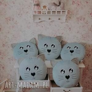 hand-made pokoik dziecka poduszka kotek niebieski