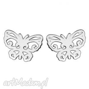 srebrne kolczyki ażurowe motylki, modne, kobiece, srebro, sztyfty, wkrętki