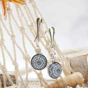 klipsy srebrne wiszące z mozaikową zawieszką, srebro, srebrne, prezent