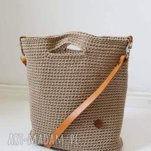 handmade na ramię duża szydełkowa torba ze skórzanym paskiem