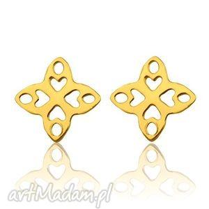 złote kolczyki arabskie rozetki, kolczyki, sztyfty, złoto, modowe