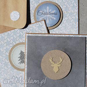 zestaw trzech kartek światecznych - renifer, życzenia, święta, choinka