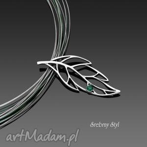 wiosenny liść srebrny styl, ażurowy, obroża, oksydowany