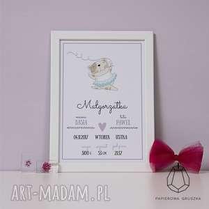 metryczka kotka - metryczka, plakat, obrazek, prezent, chrzest, urodziny