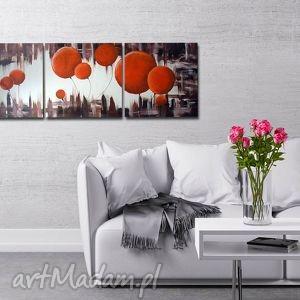 obraz dmuchawce pomarańczowe 2 - 120x40cm ręcznie malowany, dmuchawce, kulki