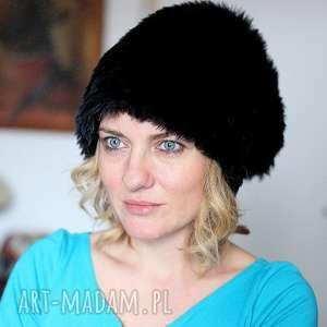 damska futrzana czapka czarna, czapka, futro, boho, etno, zima, ciepła