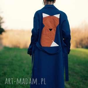 prezent na święta, niebieski z lisem, lis, zwierzę, wiosenny, trench, bawełna