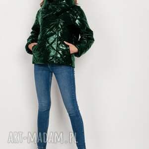 krótka, pikowana kurtka z dużym kołnierzem - kr107 zielony, kurtka, krótka