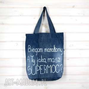 Prezent Biegam Maratony Biegacz Sport Torba dżinsowa, torba, prezent