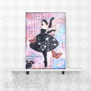 obrazy balerina, ręcznie wykonany obraz w technice kolażu, obraz, kolaż, kobiecy