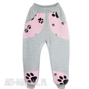 Szare spodnie, BAWEŁNA, różowe Psie Łapy, rozm. 62-116, bawełniane-spodnie