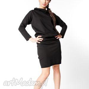 l/xl sukienka z kapturem czarna, bawełna, dzianina, wiosna, eko, luźna, sportowa