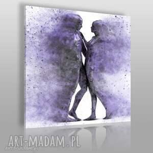 obraz na płótnie - para sylwetki postacie fioletowy w kwadracie 80x80 cm 38408