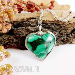 serduszko z malachitu - wisiorek, serce, malachit, kamień natualny, prezent