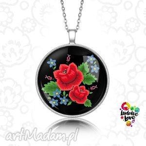 medalion okrągły rÓŻe - folklor, polskie, wzory, ludowe, hafty, kwiaty