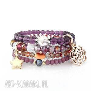 zestaw bransoletek - purple set, zestaw, bransoletki, bransoletek, zawieszki