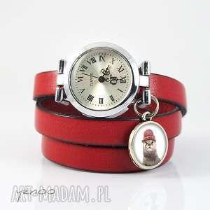 Zegarek, bransoletka - Wydra czerwony, skórzany, zegarek, bransoletka, skórzana