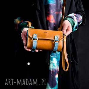 ręcznie zrobione portfele stylowy portfel w kolorach camel i niebieski od ladybuq