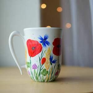 kubek ceramiczny maki i chabry, w kwiaty, maki, łąka, polne kwiaty