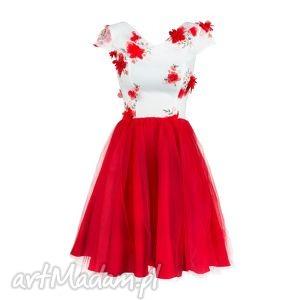 sukienka tiulowa z koronką 3d/bc, tiulowa, koronka, mini, kloszowana, wesele