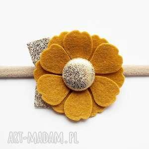 ozdoby do włosów opaska kwiatek musztardowy kolekcja roma, dziewczynki