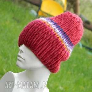 Wełniana czapa 100% wool czapki aga made by hand kolorowa