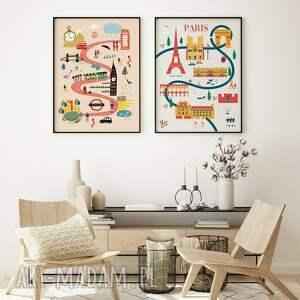 zestaw map-ilustracji londyn paryż 30x40 cm, mapki, mapy, londyn