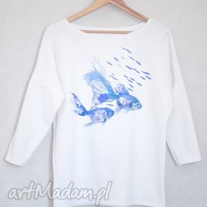 RYBY bluzka bawełniana oversize S/M biała, bluzka, bluza, koszulka, ryby, nadruk
