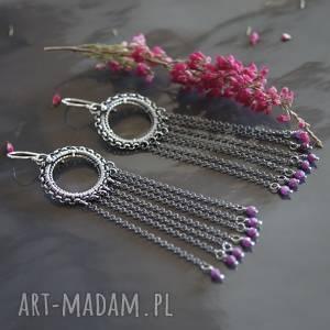 długie kolczyki z rubinami kael, kolczyki, srebrne, rubin, chwosty