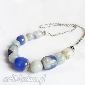 agat z kwarcem niebieski naszyjnik - agat, kwarc, niebieski, naszyjnik