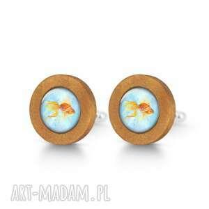 handmade spinki do mankietów złota rybka - drewniane