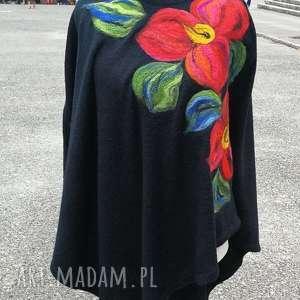 poncho z dzianiny wełnianej czarne merynosy kwiaty boho, poncho, sweter, etno